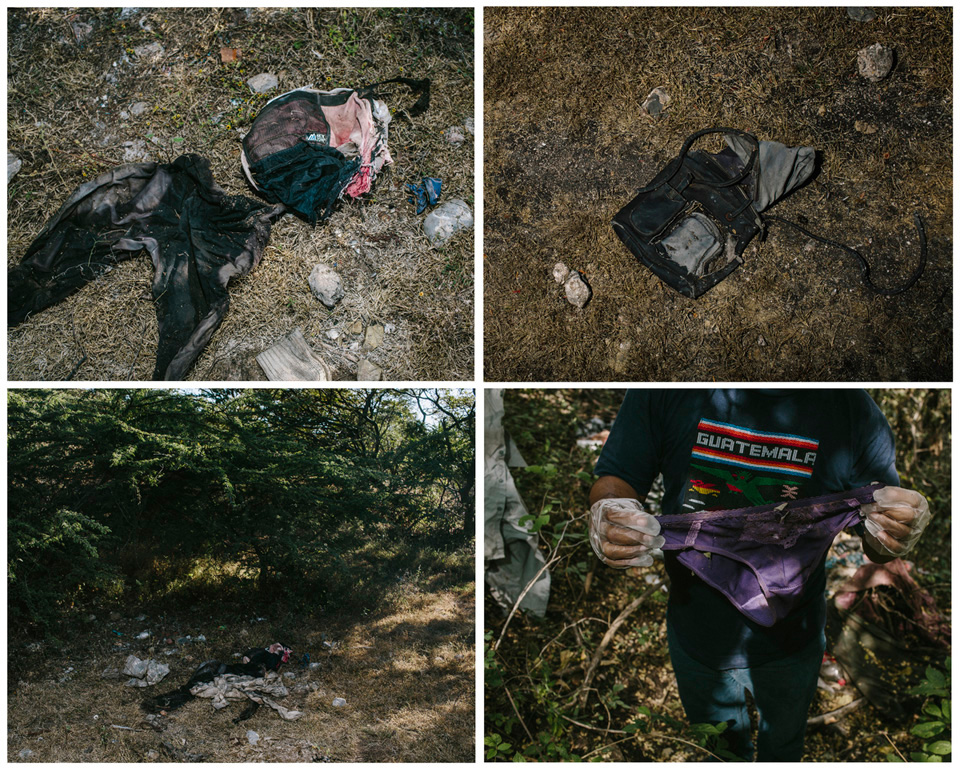 Belongings found at various sites around Iguala. Clothing and trash is an uncommon site in this rural and thickly vegetated mountains. Most often they are signs that people were held in kidnapping camps in the area.