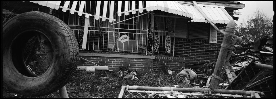 lower 9th ward after hurricane katrina - panoramic of destroyed house