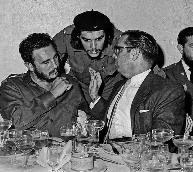 "Cuban revolutionary hero Ernesto ""Che"" Guevara, center, Cuban leader Fidel Castro, left, and Cuban President Osvaldo Dorticos, right, attend a reception at an undisclosed location in Cuba, 1960."