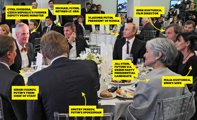 Gen. Michael Flynn and Jill Stein dine with Russian President Vladimir Putin in Moscow in December 2015.