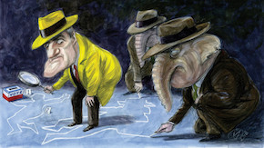 Illustration of elephants in dark suits following a yellow-clad detective