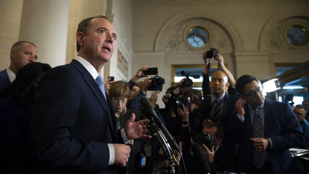 Adam Schiff talks to reporters