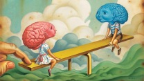 "A cartoon illustration of a pink ""girl"" brain in a dress and a blue ""boy"" brain in shorts facing each other on a see-saw."