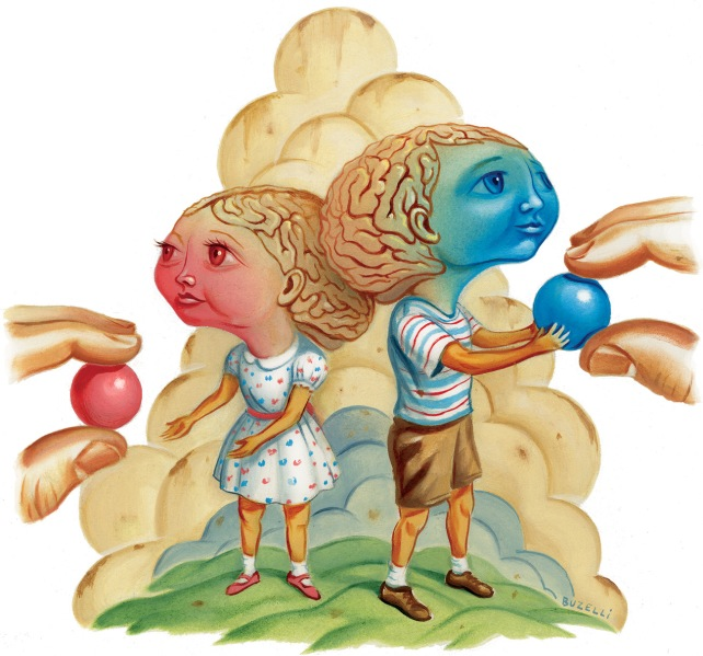 """A pink """"girl"""" brain in a dress is given a pink ball while the blue """"boy"""" brain in shorts is given a blue ball."""