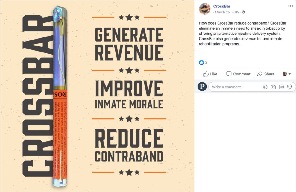 """A colorful Facebook ad describes e-cigarettes as generating revenue, improving inmate morale, and relating """"contraband"""" for jails."""