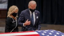 The Bidens pay respects to the late John Lewis.