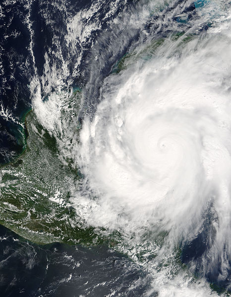 Hurricane Wilma from above at peak intensity