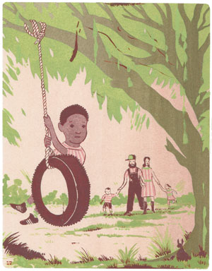 a kid in a tire swing