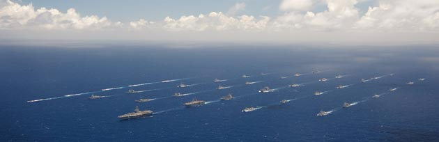 Ships and submarines participating in last year's Rim of the Pacific exercise.
