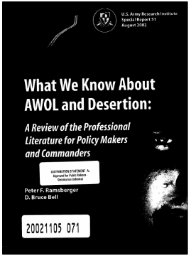 A 2002 report by US Army Researchers on deserters