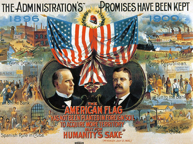 1900 Campaign poster for the Republican Party depicting American rule in Cuba