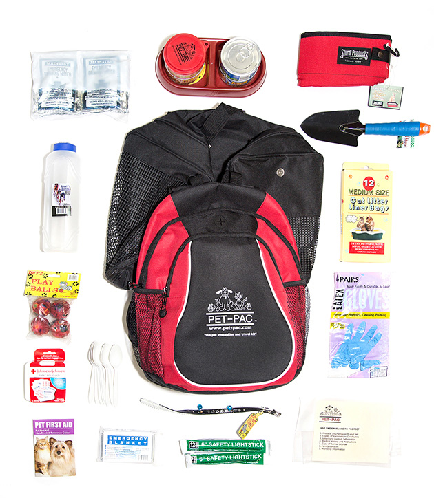 The Pet Pac for a cat retails for $90.00 and contains, food, bowls, water, a collar with bells, a portable litter box, a trowel, a pet first aid kit, and toys.