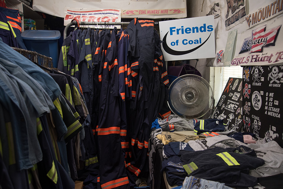 A store in Racine, West Virginia, in Boone county, sells reflective clothing for miners along with t-shirts, flags and items.