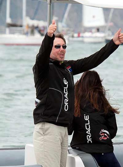 Larry Ellison wearing an Oracle jacket