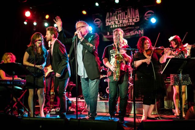 Mike Mills (center) of R.E.M. took lead vocals with an ensemble performing the music of Big Star. The 13th Americana Music Festival and Conference, September 12-15, 2012, Nashville, TN
