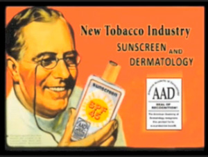 Altered tobacco ad used in an salon employee training video to suggest that doctors once shilled for the tobacco industry and now shill for sunscreen companies.  FairWarning
