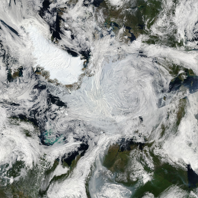 August's freak Arctic cyclone assisted in this year's record melt. NASA image by Jeff Schmaltz, LANCE/EOSDIS Rapid Response.