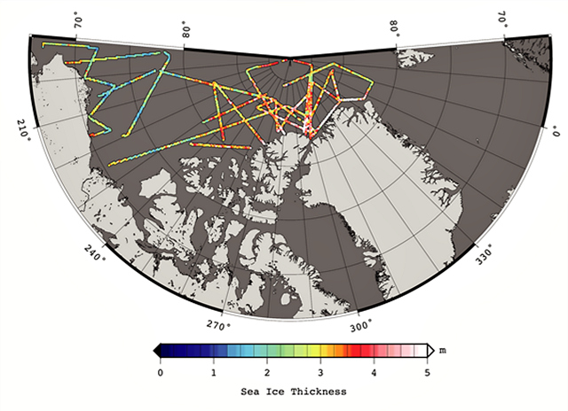 Arctic sea ice thickness derived from the 2012 Operation IceBridge ?quick-look? data products, spanning 14 March to 02 April 2012: S. Farrell and N. Kurtz, NASA Goddard Space Flight Center.