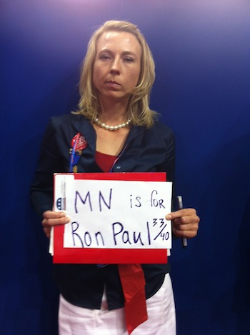 Yelena Vorobyov, one of Ron Paul's 33 Minnesota delegates, had to make her own sign on the floor, and she was damn mad. David Corn