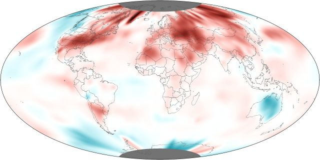 Global temperature anomalies, May 2012: NOAA