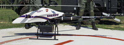Officers of the Montgomery County Sheriff's Office with their Shadowhawk drone. Vanguard Defense Industries